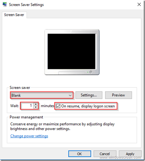 How to lock screen after xx minutes of inactivity in windows